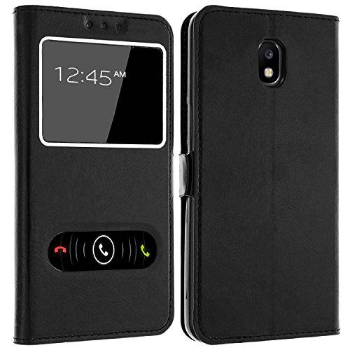 Gemtoo® Etui Coque Housse avec FENETRES pour Samsung Galaxy J3 2017 - Plusieurs Couleurs Disponibles - Noir