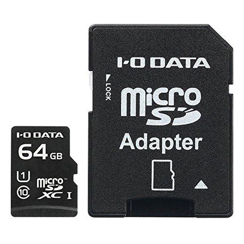 アイ・オー・データ microSDカード 64GB UHS-I(スピードクラス1)/Class10対応 Nintendo Switch動作確認済 ドライブレコーダー向け 耐X線 変換アダプター付 日本メーカー EX-MSDU1/64G