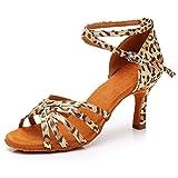 RUYBOZRY Satín Zapatos Baile Latino Suela de Gamuza Baile de Salón Latino Profesional Zapatos Baile Salon Mujer,Modelo-WH1213,Tacón-7CM,Leopardo,41 EU