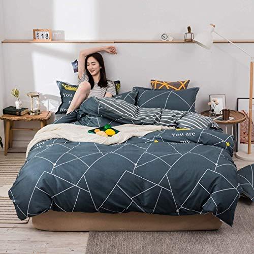 DPJ Juego de ropa de cama con funda de almohada, de poliéster, 4 piezas, 220 x 240 cm