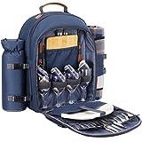 Sunflora Mochila de Picnic Set para 4 Personas con Bolsa Isotérmica y Compartimiento Nevera Impermeable de Familiar Outdoor Camping (Azul Marino)