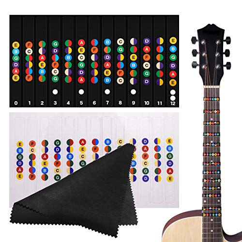 HONGECB Etiquetas de Guitarra Notas Pegatina, Pegatinas para Tabla de Trastes de Guitarra, Apto para Guitarra Electrica Acustica de 6 Cuerdas, con Paño de Limpieza de Fibra Fina, Negro e Claro