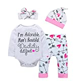 Baby Girl Clothes Cute Mommy Letter Romper Arrow Heart Pants Newborn Girls Outfits Fall Winter Clothes Set (Adorable Pink, 6-9 Months)