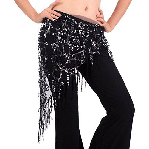 Brightup Cintura di danza del ventre alla moda con cinturino alla caviglia con paillettes e nappe