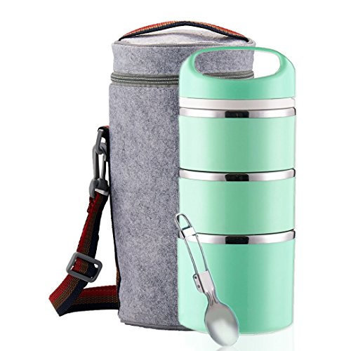 Lille Home Stackable Stainless Steel Thermal Compartment Lunch Box | 3-Tier Insulated Bento Box/Food Container with Insulated Lunch Bag & Foldable Stainless Steel Spoon