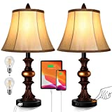 Touch Control Traditional Table Lamp Set of 2, Vintage Bedside Lamps with Dual USB Charging Ports, 3-Way Dimmable Bronze Finish Desk Lamps with Bell Shape Faux Silk Shade for Living Room, Bedroom