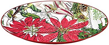 Michel Design Works Decorative Oval Metal Platter, 16.25 x 12.75-Inch, Holiday