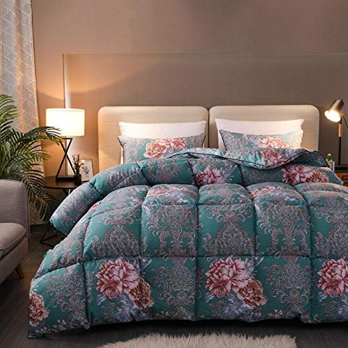 Hahaemall Lightweight Duvet White Goose Downfilled Winter Duvet Quilt - Anti-Dust Mite & Feather-Proof Fabric, All Season - Anti-Allergy-220X240-1.5Kg_Green