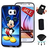 Galaxy S6 Case, Customized Black Soft Rubber TPU Galaxy S6 Case, Disney Cartoon Mickey Mouse Galaxy S6 Case(Not Fit Galaxy S6 Edge)