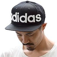 (アディダス) adidas メンズ レディース フラット バイザー ビッグ ロゴ ベースボール キャップ 帽子 151-111017 (ブラック 02)