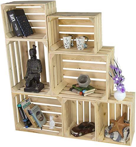 LAUBLUST 7er Set Vintage Holzkisten - Kisten in 2 Größen, 50x40x30cm / 40x30x25cm, Natur, Neu, Unbenutzt | Möbel-Kiste | Wein-Kiste | Obst-Kiste | Apfel-Kiste | Deko-Kiste aus Holz