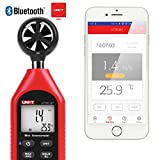 uni-t bluetooth anemometro palmare, ut363bt handheld mini digital anemometro con termometro e max/min per dati meteo collection e sport all' aperto windsurfing vela con display lcd retroilluminato