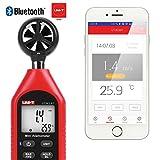 Bluetooth Anémomètre,Uni-T Portable Mini Digital anémomètre avec thermomètre et max/min pour collecte de données Météorologiques et l'extérieur Sports windsurf Sailing avec écran LCD rétroéclairé