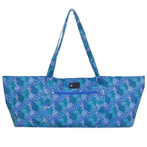 Aurorae Bolsa para esterilla de yoga, se adapta a la mayoría de esteras de yoga y accesorios en patrón floral azul