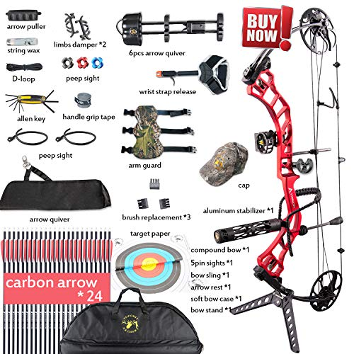 Compound Bow,Compound Hunting Bow Kit,CNC Milling Bow Riser,Limbs Made in USA,19'-30' Draw Length,19-70Lbs Draw Weight,Up to 320FPS, (2 Years Warranty)Ship from USA Warehouse(Arrives: 3-5 days)