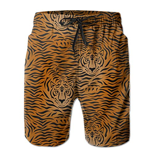SARA NELL Men's Swim Trunks Tiger Animal Print Fierce Animal Surfing Beach Board Shorts Swimwear