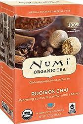 Numi Organic Tea Rooibos Chai, 18 Count Box of Tea Bags, Herbal Teasan, Caffeine-Free (Packaging May