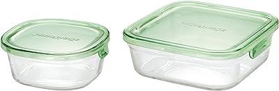 iwaki(イワキ) 耐熱ガラス 保存容器 グリーン 角型 S 450ml ごはん 1膳 パック&レンジ KC3240N-G & 耐熱ガラス 保存容器 グリーン 角型 M 800ml パック&レンジ KC3247N-G 【セット買い】