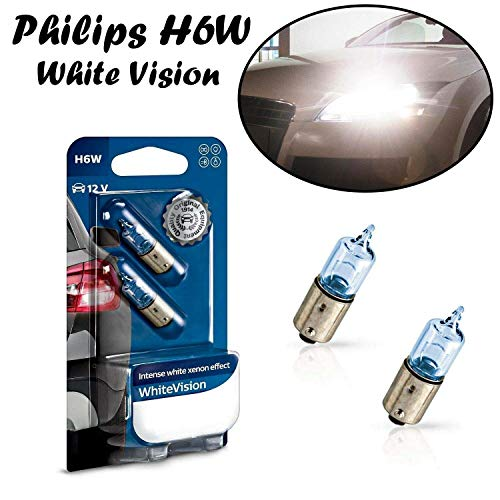 2x Philips White Vision H6W 12V BAX9S 12036WHVB2 Intesiv Weiß Xenon Effekt High Tech Ersatz Halogen Birne für Hecklicht Parklicht Rückfahrlicht Standlicht Kennzeichenlicht Einrichtunglicht E-geprüft
