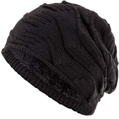 Compagno Gorro de invierno slouch beanie diseño de punto grueso con suave interior de forro polar, Color:Negro