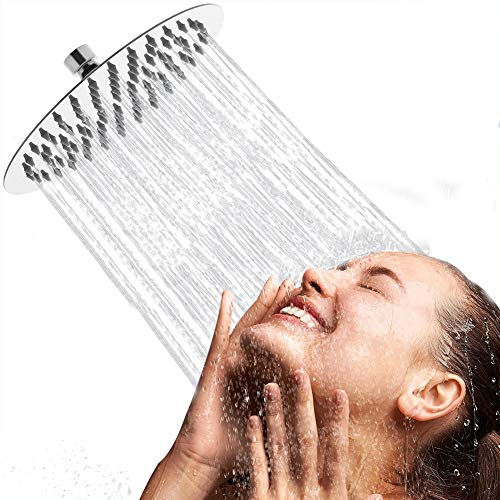 Acefy 8 Zoll Rund Regendusche Einbauduschköpfe Edelstahl Duschkopf 20 cm Kopfbrause Regenbrause Wasserfall Regenduschkopf mit Anti-Kalk-Düsen poliert Spiegeleffekt Hochglänzend