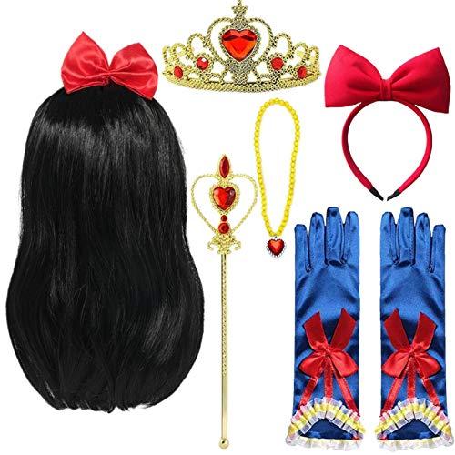 EMIN Princesa Blancanieves peluca trenzada con corona de princesa, collar con guantes, cinta para el pelo, accesorios para nios y nias