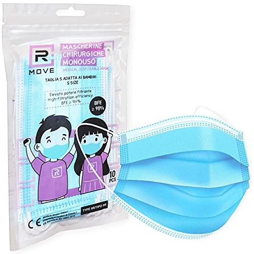 100 mascherine chirurgiche per bambini Dispositivo Medico di classe II R CERTIFICATE CE ogni mascherina è racchiusa in confezioni richiudibili da 10 mascherine Rmove