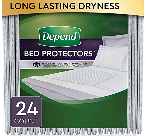 Depend Waterproof Bed Pads, Overnight Absorbency, Disposable Underpads, 24 Count (2 Packs of 12)