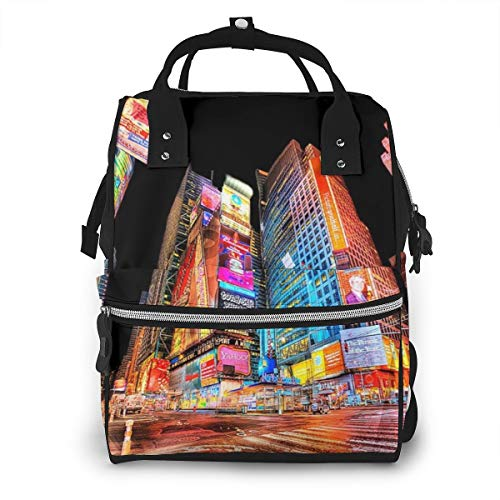 Times Square NYC Fashion Diaper Bags Mummy Backpack Multi Functions Waterproof Large Capacity Nappy Bag Nursing Bag for Baby Care for Traveling
