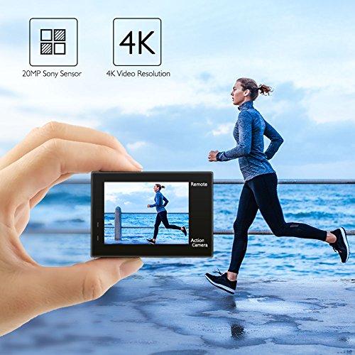 AKASO Action Camera/ 4K 20MP Action Kamera/Unterwasserkamera mit Bildstabilisierung Zoom Zeitraffer,30m Camcorder mit Fernbedienung 2 Akkus und Zubehör Kit