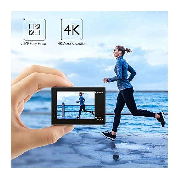 AKASO Brave 4 4K 20MP WiFi Action Camera Ultra HD with EIS 30m Underwater Waterproof Camera Remote Control 5X Zoom… 2 UPGRADE SERIES OF AKASO EK7000: Featuring 4K/24fps, 2K/30fps and 1080P/60FPS video resolution and 20MP photos, AKASO Brave 4 action camera enables you to take incredible photos and ultra HD videos, clearly recording the beauty and wonders in life! OPTIONAL VIEW ANGLE AND ANTI-SHAKING: Adjust the view angle of this action camera according to your needs between 170°, 140°, 110°, and 70°. Built in smart gyroscope for anti-shaking and image stabilization to make your video much more smooth. SPORTS CAMERA WITH WIFI AND HDMI: Sharing & editing videos from an action camera is easier with the free app. Just download the App on your phone or tablet and connect with this action camera. Wi-Fi signal ranges up to 10 meters. With HDMI Port allows you to connect it with television.