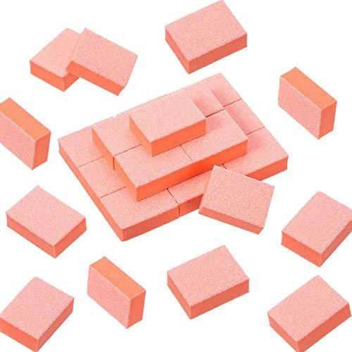 150 Stück Mini Nagel Schleifen Block Nagel Puffer Block Nagel Polieren Feilen Poliermaschine Doppelseitige Streugut Maniküre Nagelspitzen Werkzeug für DIY Nagel Kunst (Orange)