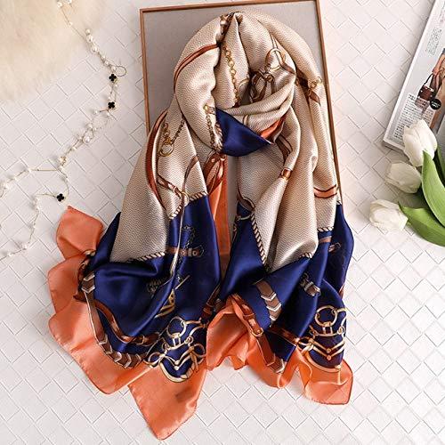 UKKD bufanda Primavera Y Otoño Seda Bufanda Mujer Moda Bufanda Impresión Suave Mantón Protector Solar Toalla De Playa