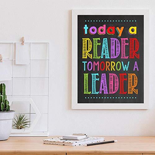 Cartel de lectura Imprimir Biblioteca Estudio Decoración de la pared, Hoy un lector Mañana Un líder Cita Póster Arte de la pared del aula Pintura en lienzo 40x60cm Sin marco