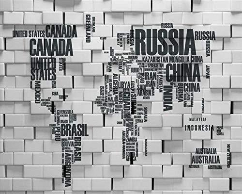 ZDBWJJ - Papel de pared 3D personalizado para salón dormitorio con letras inglesas del mapa del mundo TV fondo pared para pared