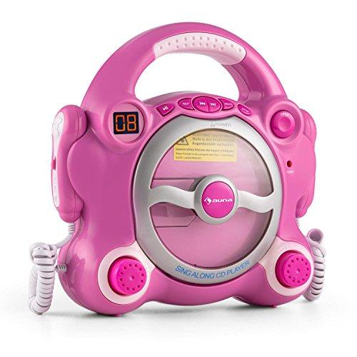 Auna Pocket Rocker - Kit Karaoke , 2 dinamici microfoni , Altoparlante Stereo , programmabile , Funzione di Ripetizione , Uscita Auricolari 3,5 mm , Maniglia di Trasporto , Rosa