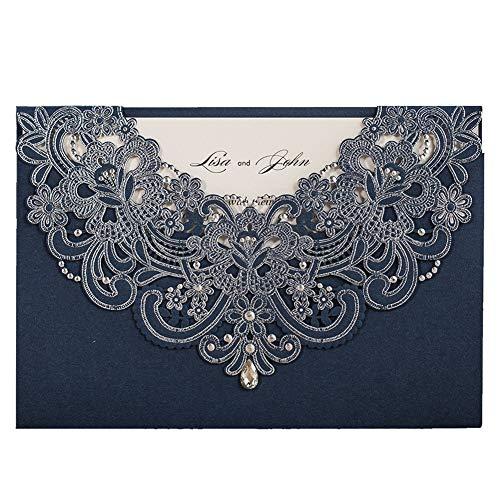 WISHMADE 20 Pcs Cartes d'Invitation Bleu Foncé Découpée au Laser, Invitations Personnalisées avec Zircon Design pour Mariage Anniversaire Dîner Obtention du Diplôme