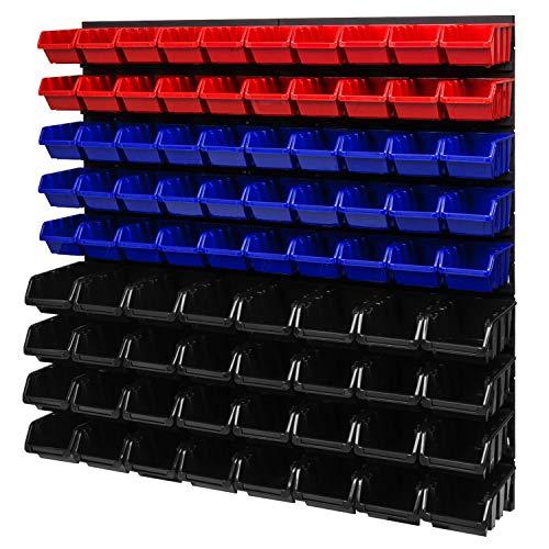 Stapelboxen Wandregal 772 x 780 mm - Lagersystem Sichtlagerkästen Schüttenregal - Wandplatten 82 Stück Boxen (Rot/Blau/Schwarz)