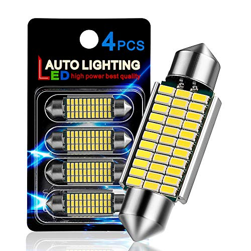 AutoLite Led Festoon Bulbs 42mm 1.65' 578 211-2 214-2 212-2, Super Bright Automotive Interior Car Light Bulbs, White 6000K with CANBUS Error Free, Best for Led Dome Light Map Trunk License Plate Light