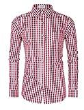 Clearlove Trachtenhemd Herren Hemd Slim Fit Kariert Freizeithemd - für Oktoberfest & Freizeit & Business,Rotes Karo,42