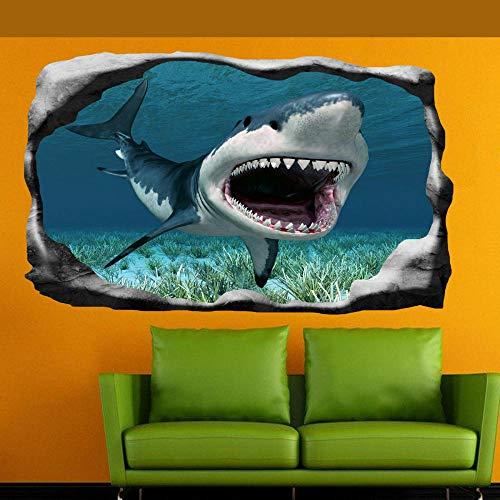 Weißer Hai Jaws Wandaufkleber 3D Art Poster Wandbild Kinder Jungen Schlafzimmer 70x110cm