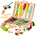 KIDWILL Tool Kit for Kids, Wooden Tool Box with 33pcs Wooden Tools, Building Toy Set Creative DIY Educational Construction Toy, STEM Toy for Toddlers Boys Girls from KIDWILL