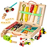 KIDWILL Tool Kit for Kids, Wooden Tool Box with 33pcs Wooden Tools, Building Toy Set Creative DIY Educational Construction Toy, STEM Toy for Toddlers Boys Girls
