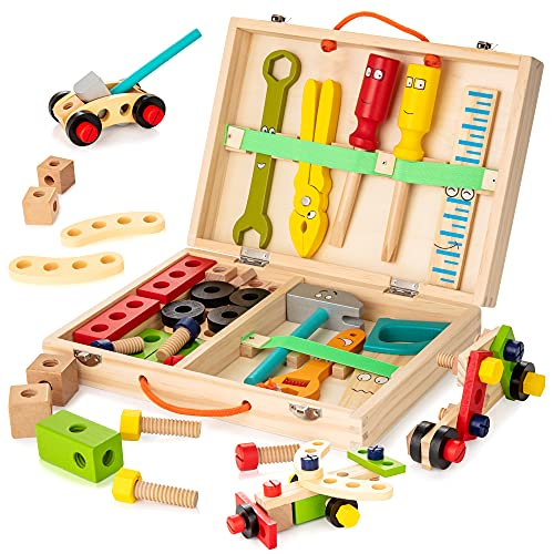 KIDWILL Tool Kit for Kids, Wooden Tool Box with 33pcs Wooden Tools, Building Toy Set, Educational STEM Construction Toy,Christmas Birthday Gift for 2 3 4 5 6 Year Old Toddlers Boys Girls