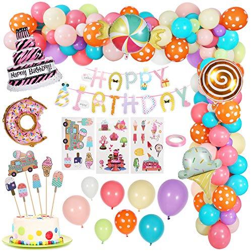 Gafild Decoraciones Cumpleaños de Fiesta Candyland, Rosa Feliz cumpleaños Estandarte Caramelo Donut Helado Globo De Aluminio para Decoración Niña