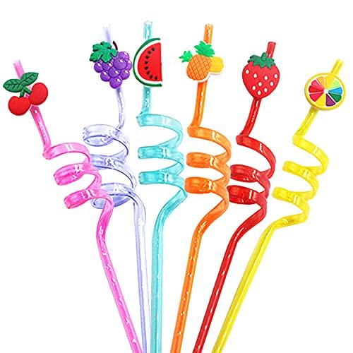 Cannucce Ricurve,BESTZY 16 Pezzi Cannucce Riutilizzabili in Plastica,Cannucce Colorate Fruits, per Feste di Compleanno per Bambini, Decorazioni da Tavola per Feste di Famiglia