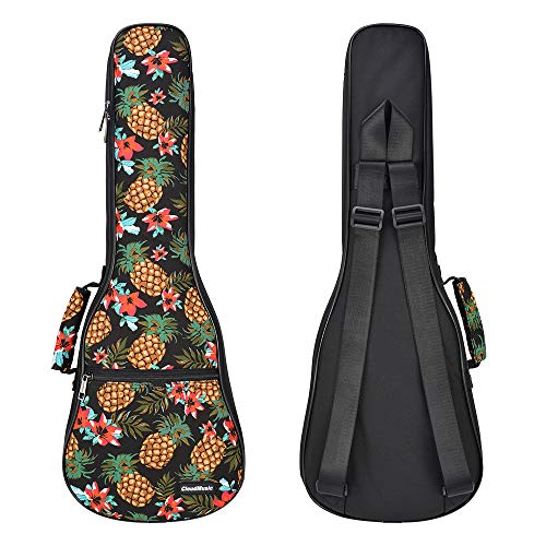 CLOUDMUSIC Ukulele Case Pineapple Ukulele Backpack 10mm Padding (Concert)