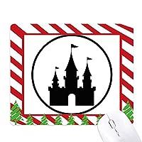 遊園地城の黒いシルエット ゴムクリスマスキャンディマウスパッド