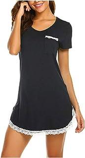 Women 100% Cotton Dress Comfortable Sport Sleeping Night Dress Slim Short Sleeve O-Neck Lace Patchwork Split Mini Dress
