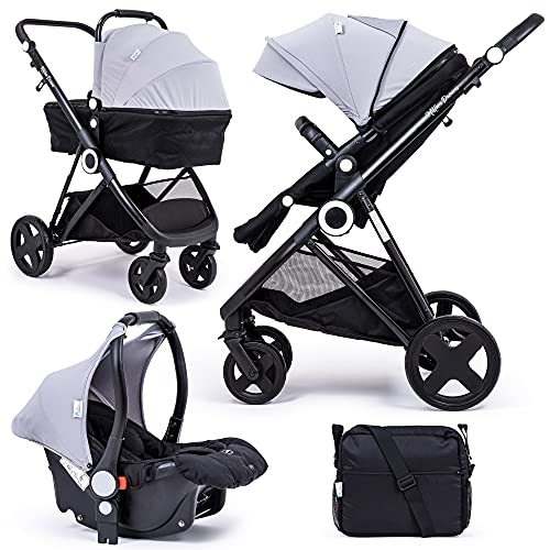 For Your Little One Million Dreams 3 in 1 Travel System, Group 0 Car Seat + Carrycot, Mattress from Birth, Buggy with Lying Function, Changing Bag, Large Basket, Small Folding - Silver